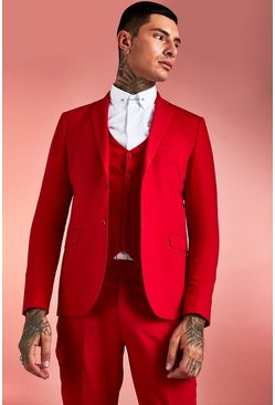 Herr Red Plain Skinny Fit Suit Jacket
