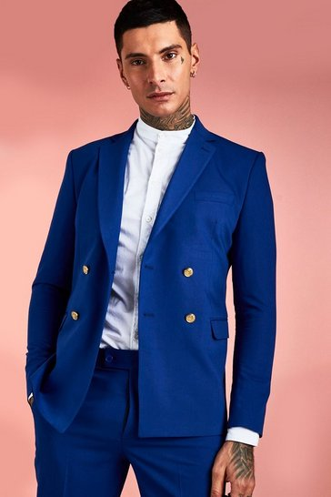 Cobalt Double Breasted Suit Jacket With Button Detail