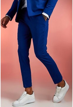 Mens Cobalt Plain Skinny Fit Suit Trouser