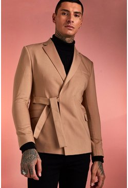 Mens Taupe Plain Tie Waist Belt Double Breasted Jacket