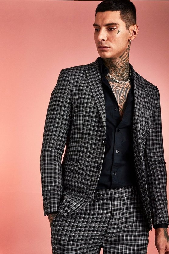 Black Monochrome Check Skinny Fit Suit Jacket