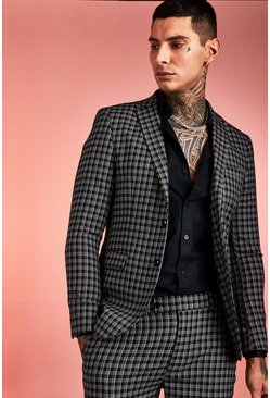 Herr Black Monochrome Check Skinny Fit Suit Jacket