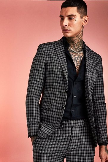 Mens Black Monochrome Check Skinny Fit Suit Jacket