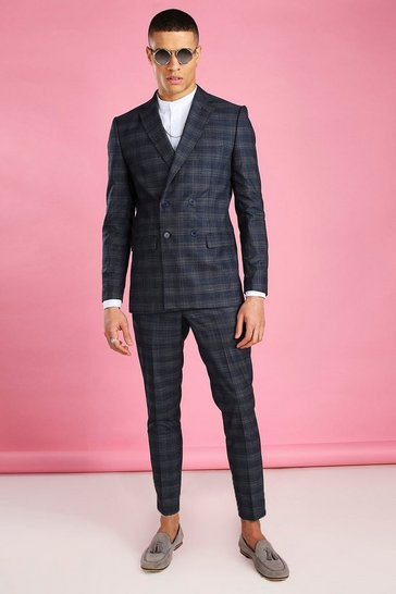 Navy Tonal Check Double Breasted Suit Jacket