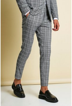 Mens Navy Tonal Check Skinny Fit Cropped Suit Trouser
