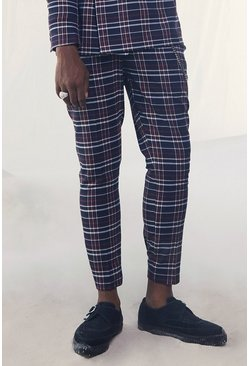 Navy Tartan Skinny Fit Cropped Suit Pants With Chain