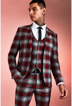 Herr Red Tartan Skinny Fit Suit Jacket