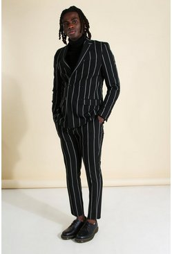 Herr Black Wide Set Stripe Skinny Fit Suit Trouser