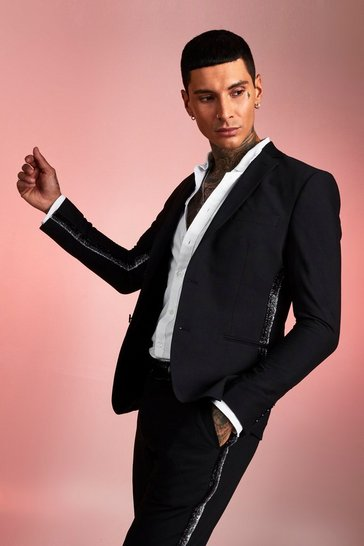 Mens Black Plain Skinny Fit Tape Detail Suit Jacket