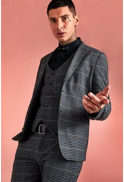Mens Black Jaspe Dogstooth Skinny Suit Jacket