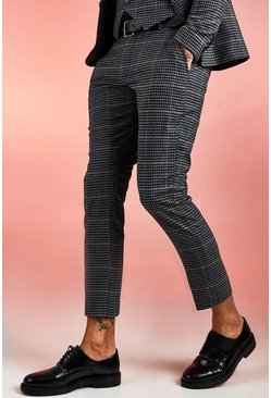 Black Jaspe Dogstooth Skinny Fit Cropped Suit Trouser