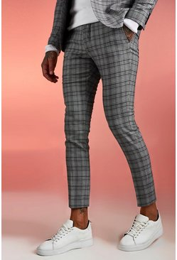 Mens Brown Heritage Check Skinny Skinny Fit Suit Trouser