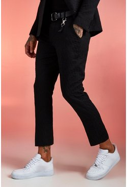 Black Jacquard Skinny Fit Cropped Suit Pants