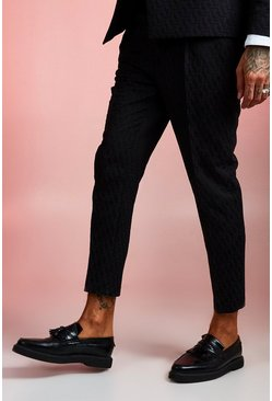 Mens Navy Jacquard Skinny Fit Cropped Suit Trouser