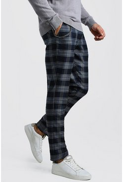 Navy Windowpane Check Skinny Fit Suit Trouser