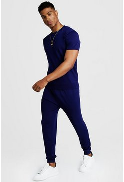 Mens Navy Fine Knit Tee & Jogger Set