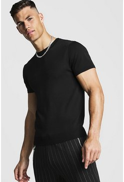 Herr Black Fine Knit T-Shirt
