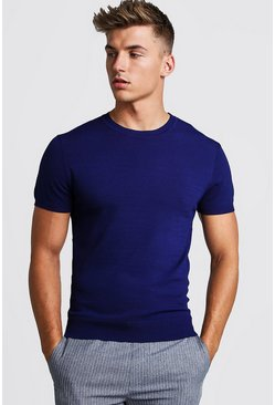 Herr Navy Fine Knit T-Shirt
