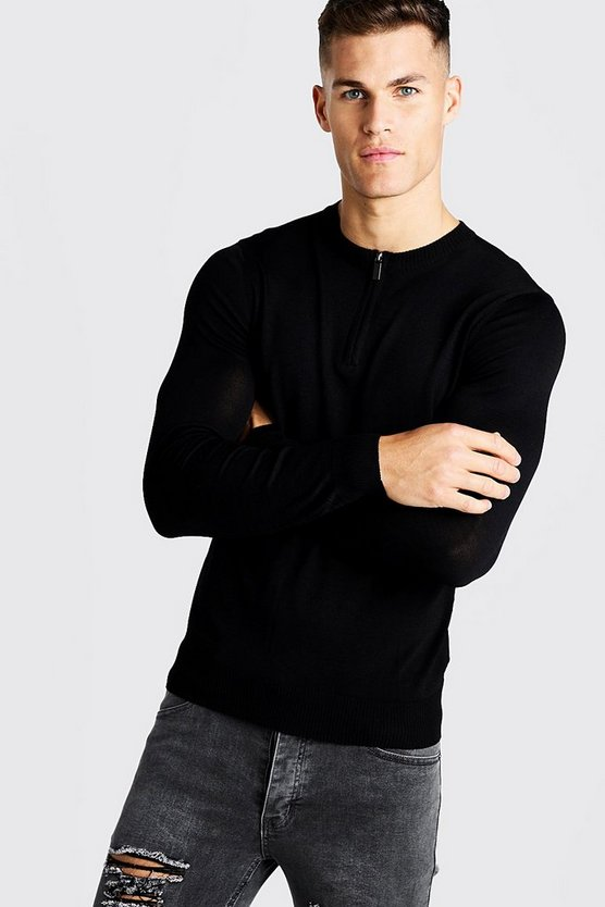 Black Fine Knit Jumper With Zip