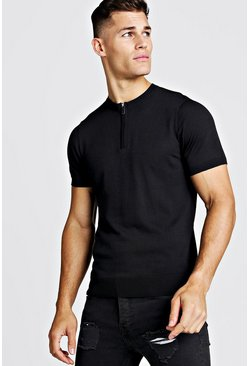 Herr Black Fine Knit Tee With Zip