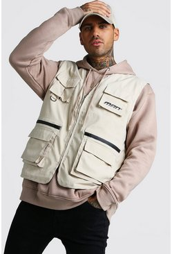 Mens Sand MAN Utility Vest With Multi Pockets