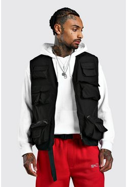 Mens Black Multi Pocket Utiity Vest With Mesh Lining