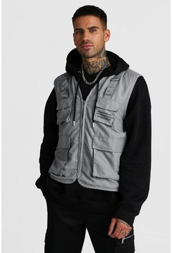 Mens Grey MAN Official Utility Vest With Print