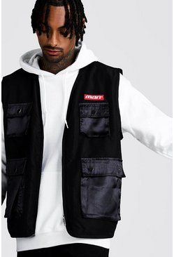 Mens Black MAN Utility Vest With Satin Pockets