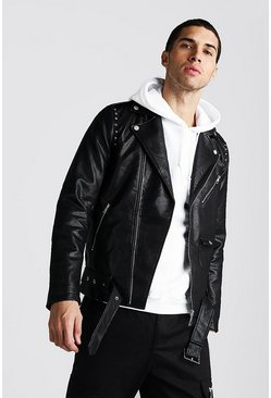 Mens Black Faux Leather Biker Jacket With Studs