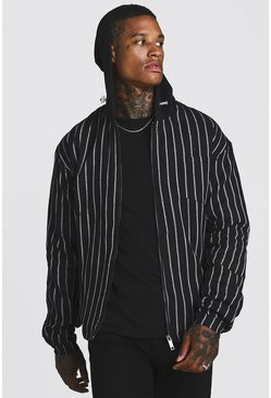 Mens Black Stripe Bomber Jacket With Hood
