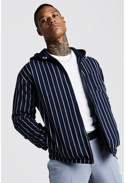 Navy Stripe Bomber Jacket With Hood