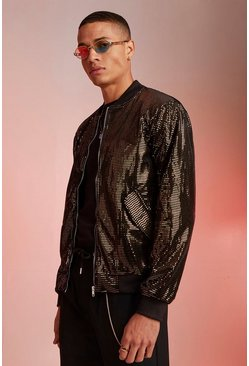 Mens Black Velour Sequin Bomber Jacket