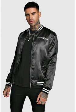 Mens Black MAN Embroidered Satin Bomber