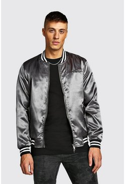Charcoal MAN Embroidered Satin Bomber