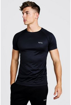 Black MAN Active T-shirt med raglanärm