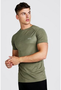 Mens Khaki MAN Active Raglan Dri-Fit T-Shirt