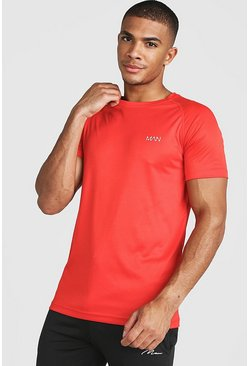 Mens Red MAN Active Raglan Dri-Fit T-Shirt