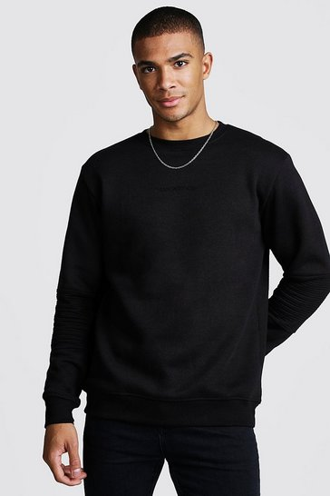 Mens Black MAN Sweater With Biker Panels