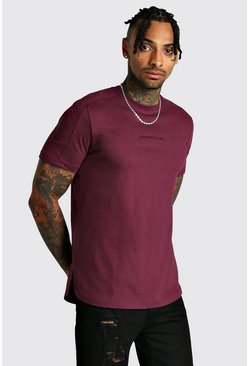 Mens Wine MAN Step Hem Biker Detail T-Shirt
