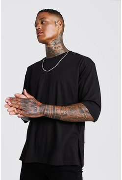 Mens Black MAN Oversized 3/4 Sleeve Biker T-Shirt