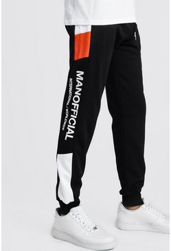 Black MAN Official Skinny Fit Neon Colour Block Jogger