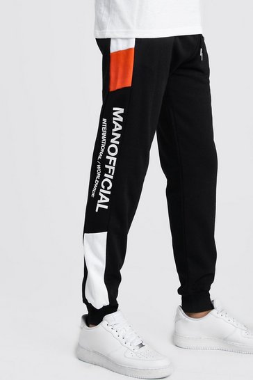 Mens Black MAN Official Skinny Fit Neon Colour Block Jogger