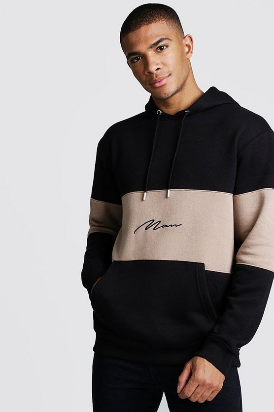 Taupe Colour Block MAN Signature Hoodie