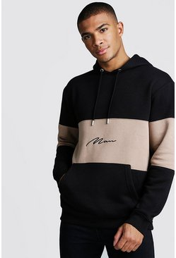 Mens Taupe Colour Block MAN Signature Hoodie