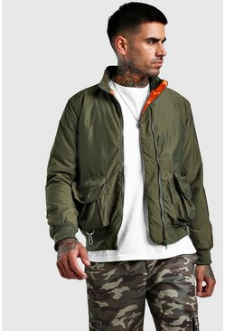 Mens Khaki Utility Bomber With Padding