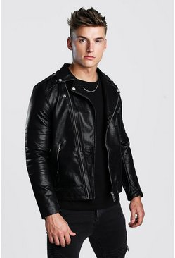 Mens Black Faux Leather Biker With Quileted Detail