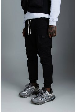 Mens Black Rope Waistband Tab Detail Cargo Trousers