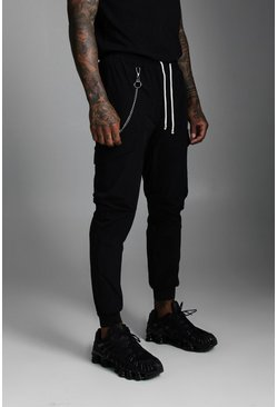 Black Nylon Cuffed Cargo Pocket Trouser With Chain