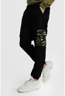 Mens Black Cargo Trousers With Camo Pockets