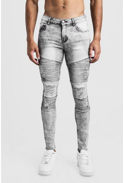 Herr Grey Skinny Acid Wash Distressed Biker Jean